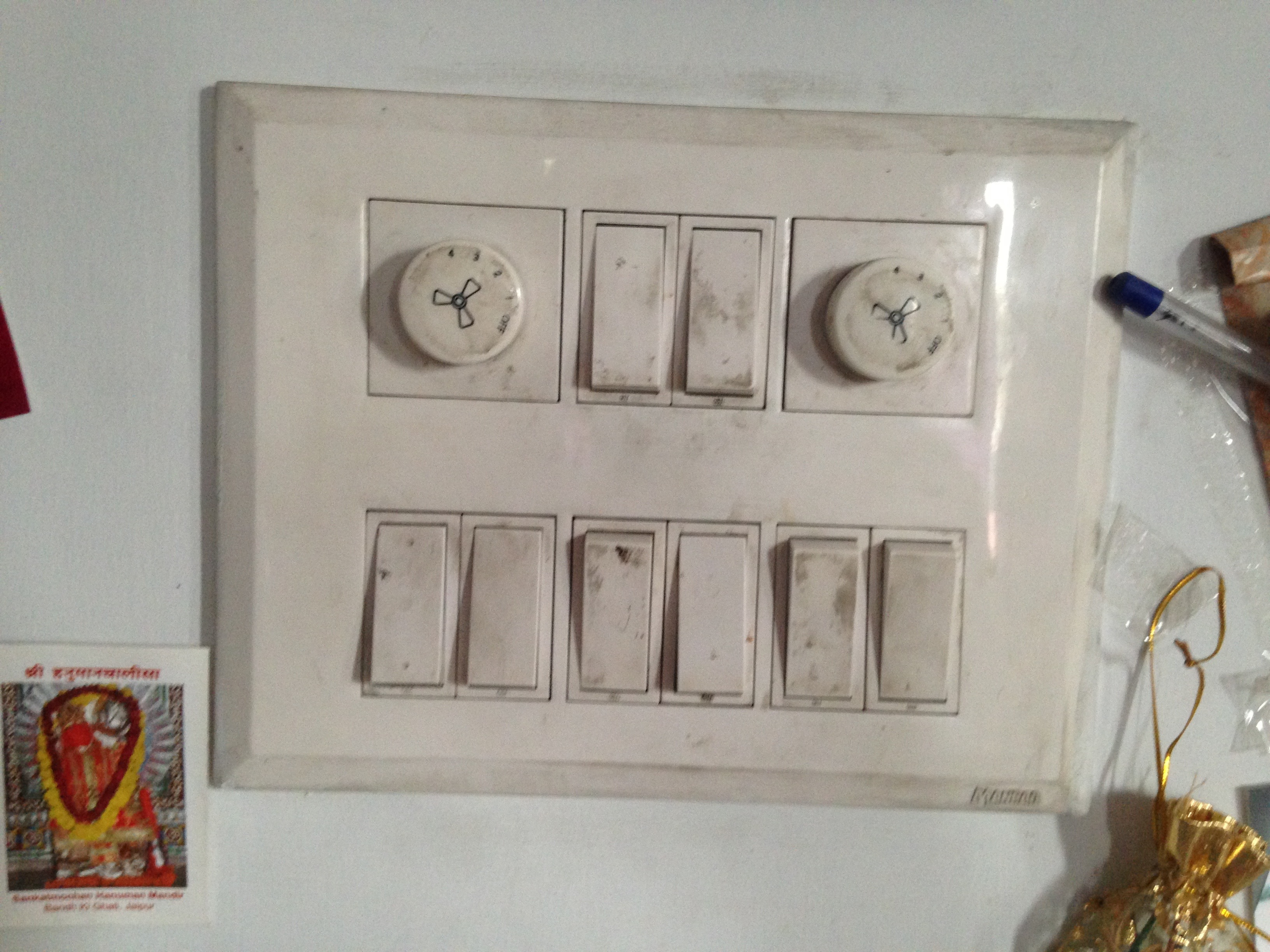 Indian buildings always have way more switches than appliances/lights associated with them