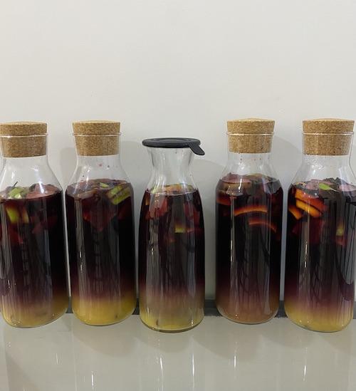 Five bottles of sangria